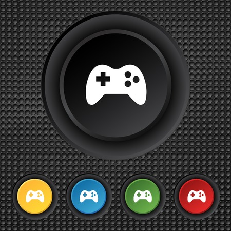 quality controller: Joystick sign icon. Video game symbol. Set colourful buttons. illustration