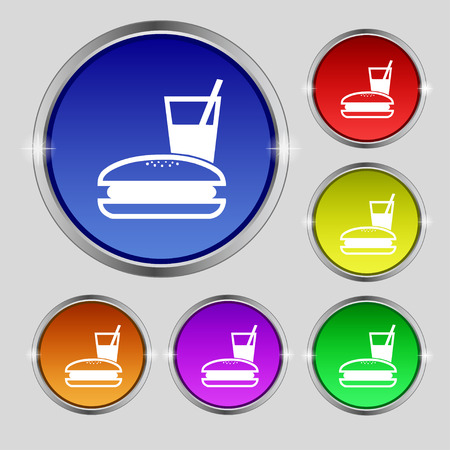 lunch box: lunch box icon sign. Round symbol on bright colourful buttons. illustration