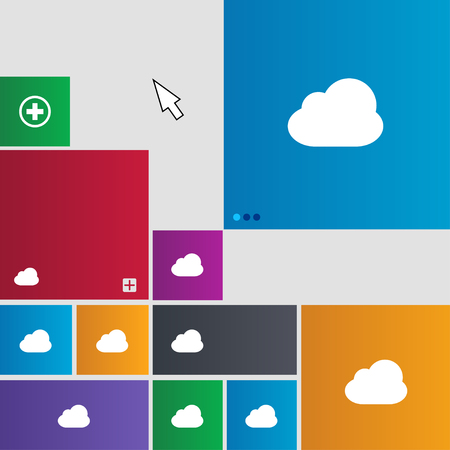 simplus: Cloud icon sign. Metro style buttons. Modern interface website buttons with cursor pointer. illustration