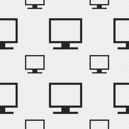 widescreen: Computer widescreen monitor icon sign. Seamless pattern with geometric texture. illustration