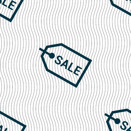 liquids: Sale icon sign. Seamless pattern with geometric texture. illustration Stock Photo