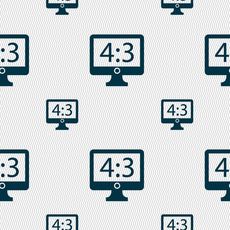4 3 display: Aspect ratio 4 3 widescreen tv icon sign. Seamless pattern with geometric texture. illustration