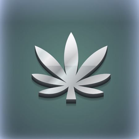 cannabinol: Cannabis leaf icon symbol. 3D style. Trendy, modern design with space for your text illustration. Raster version Stock Photo