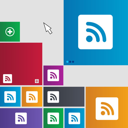 website buttons: RSS feed icon sign. buttons. Modern interface website buttons with cursor pointer. illustration