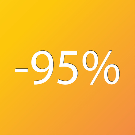 95: 95 percent discount icon symbol Flat modern web design with long shadow and space for your text. illustration Stock Photo