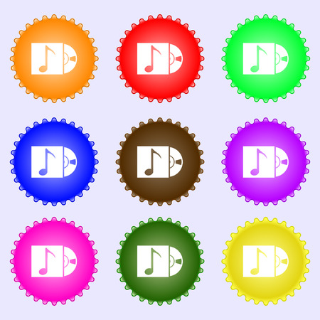 cd player: cd player icon sign. A set of nine different colored labels. illustration