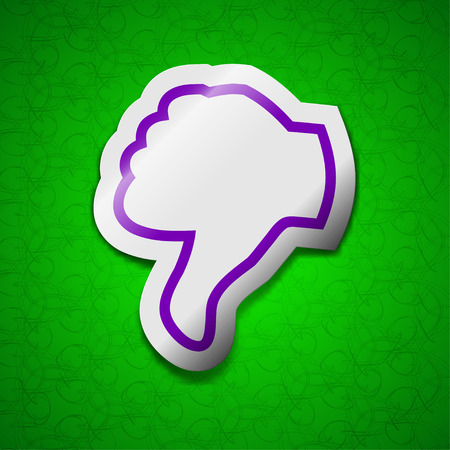 thumb down icon: Dislike, Thumb down icon sign. Symbol chic colored sticky label on green background. illustration