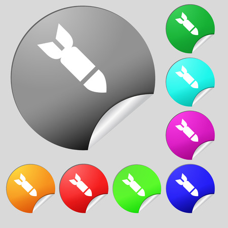 ballistic missile: Missile,Rocket weapon icon sign. Set of eight multi-colored round buttons, stickers. illustration