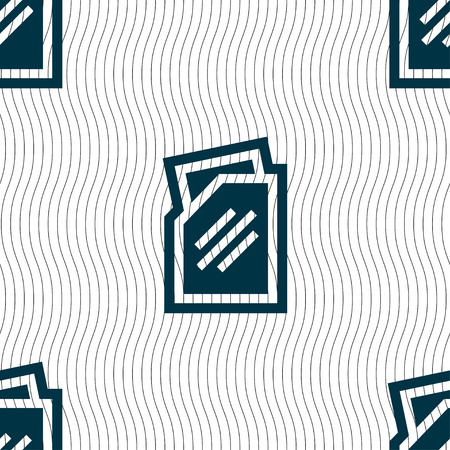 liquids: Text file icon sign. Seamless pattern with geometric texture. illustration Stock Photo