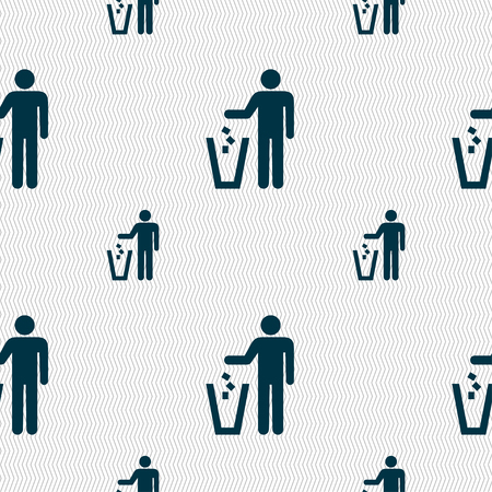 waste prevention: throw away the trash icon sign. Seamless pattern with geometric texture. illustration Stock Photo