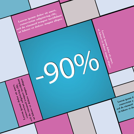 92: 90 percent discount icon symbol Flat modern web design with long shadow and space for your text. illustration