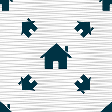 main: Home sign icon. Main page button. Navigation symbol. Seamless pattern with geometric texture. illustration