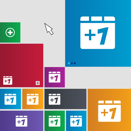 append: Plus one, Add one icon sign. Metro style buttons. Modern interface website buttons with cursor pointer. illustration