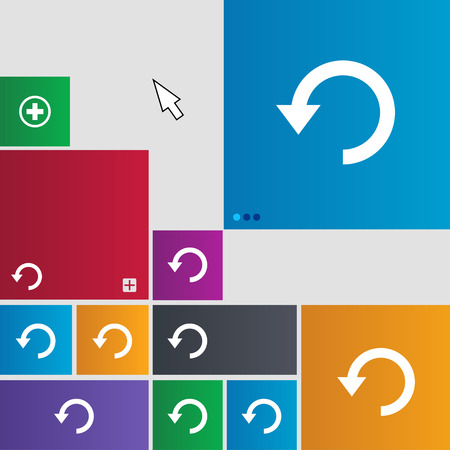 groupware: Upgrade, arrow, update icon sign. Metro style buttons. Modern interface website buttons with cursor pointer. illustration