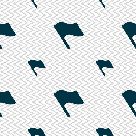 abort: Finish, start flag icon sign. Seamless pattern with geometric texture. illustration Stock Photo