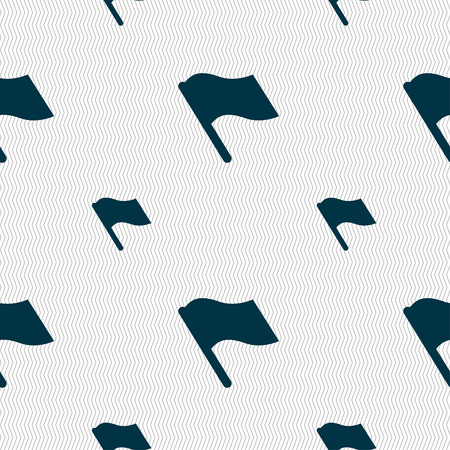 abort: Finish, start flag icon sign. Seamless pattern with geometric texture. illustration Stock Photo