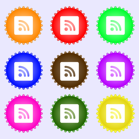 rss feed: RSS feed icon sign. A set of nine different colored labels. illustration