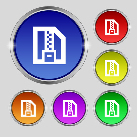 compressed: Archive file, Download compressed, ZIP zipped icon sign. Round symbol on bright colourful buttons. illustration
