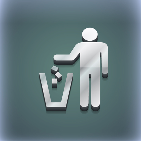 throw away: throw away the trash icon symbol. 3D style. Trendy, modern design with space for your text illustration. Raster version Stock Photo