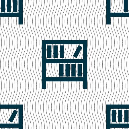 encyclopedias: Bookshelf icon sign. Seamless pattern with geometric texture. illustration