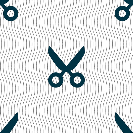 disclosed: Scissors hairdresser sign icon. Tailor symbol. Seamless pattern with geometric texture. illustration