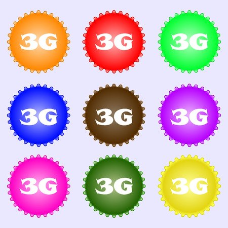 3g: 3G sign icon. Mobile telecommunications technology symbol. A set of nine different colored labels. illustration