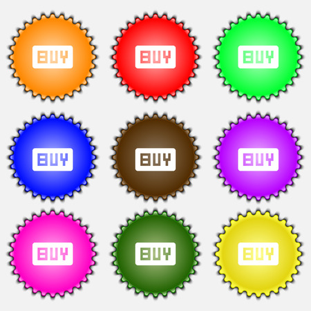 usd: Buy, Online buying dollar usd  icon sign. A set of nine different colored labels. illustration