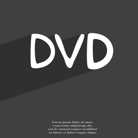 storage data product: dvd icon symbol Flat modern web design with long shadow and space for your text. illustration