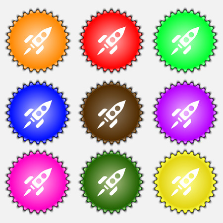 engine flame: Rocket icon sign. A set of nine different colored labels. illustration