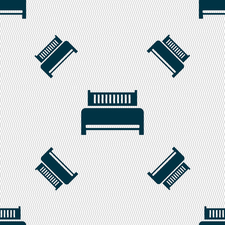 hotel bed: Hotel, bed icon sign. Seamless pattern with geometric texture. illustration
