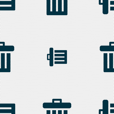 refuse bin: Recycle bin icon sign. Seamless pattern with geometric texture. illustration Stock Photo