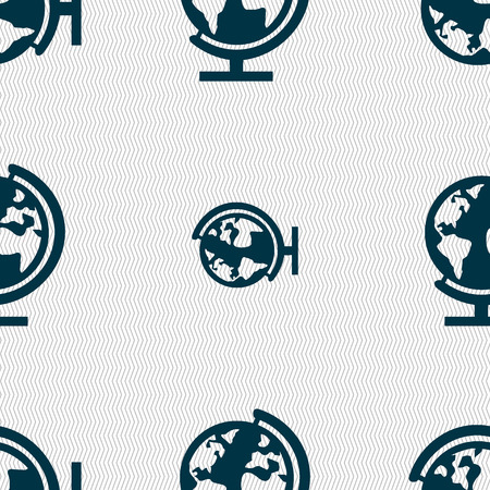 geography background: Globe sign icon. World map geography symbol. Globes on stand for studying. Seamless abstract background with geometric shapes. illustration Stock Photo