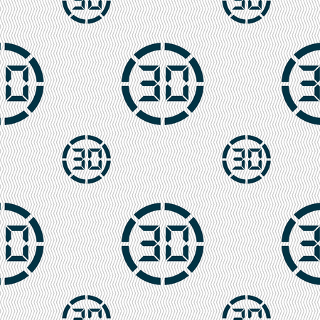 corner clock: 30 second stopwatch icon sign. Seamless pattern with geometric texture. illustration