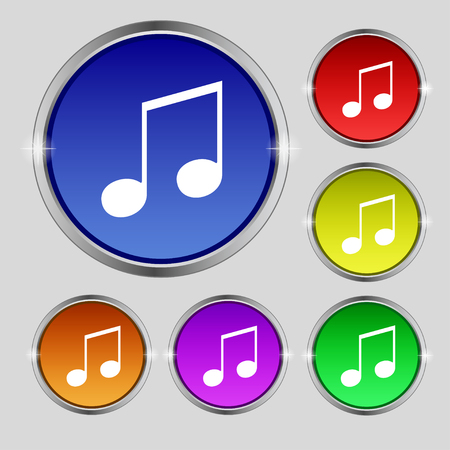 ringtone: musical note, music, ringtone icon sign. Round symbol on bright colourful buttons. illustration