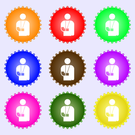 broken arm: broken arm, disability icon sign. A set of nine different colored labels. illustration Stock Photo