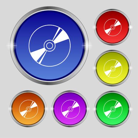 writable: Cd, DVD, compact disk, blue ray icon sign. Round symbol on bright colourful buttons. illustration