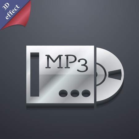 crystal button: mp3 player icon symbol. 3D style. Trendy, modern design with space for your text illustration. Rastrized copy