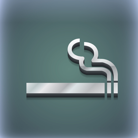 pernicious habit: cigarette smoke icon symbol. 3D style. Trendy, modern design with space for your text illustration. Raster version