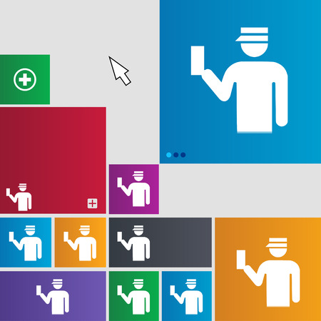 inspector: Inspector icon sign. buttons. Modern interface website buttons with cursor pointer. illustration