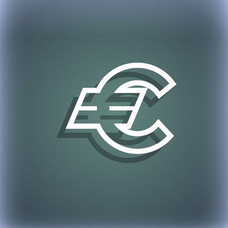 eur: Euro EUR icon symbol on the blue-green abstract background with shadow and space for your text. illustration Stock Photo