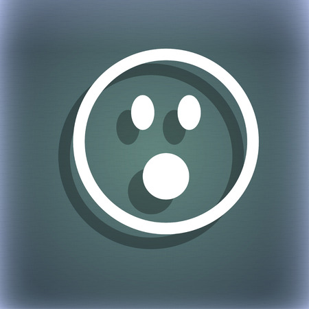 horrify: Shocked Face Smiley icon symbol on the blue-green abstract background with shadow and space for your text. illustration