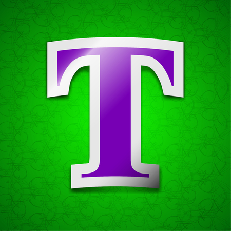 t document: Text edit icon sign. Symbol chic colored sticky label on green background. illustration
