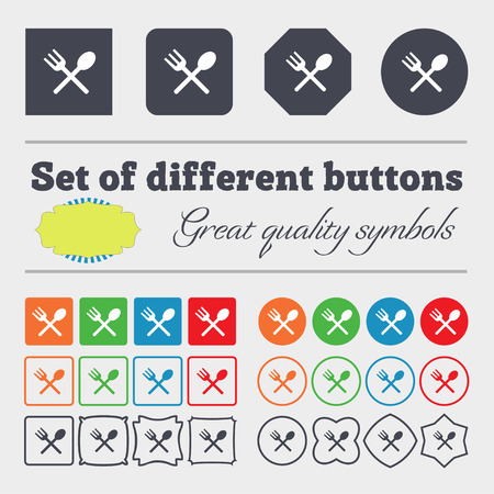 crosswise: Fork and spoon crosswise, Cutlery, Eat icon sign. Big set of colorful, diverse, high-quality buttons. illustration Stock Photo