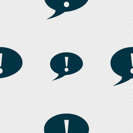 inform information: Exclamation mark sign icon. Attention speech bubble symbol. Seamless abstract background with geometric shapes. illustration Stock Photo