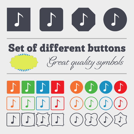 sign simplicity: Music note icon sign. Big set of colorful, diverse, high-quality buttons. illustration Stock Photo