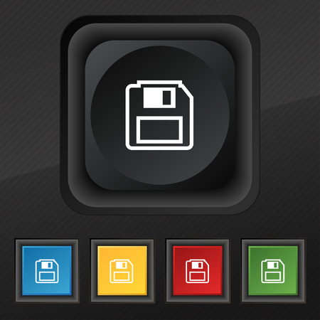floppy drive: floppy disk icon symbol. Set of five colorful, stylish buttons on black texture for your design. illustration