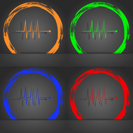 heart beats: Cardiogram monitoring sign icon. Heart beats symbol. Fashionable modern style. In the orange, green, blue, red design. illustration Stock Photo