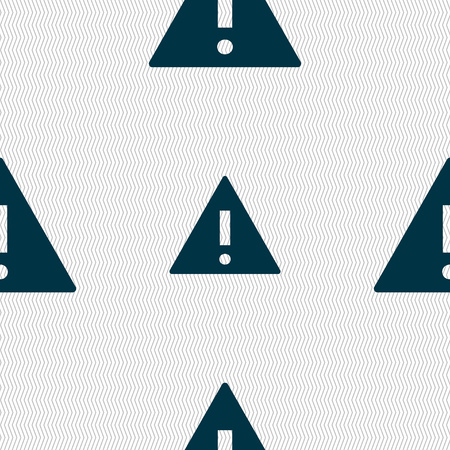 wrapped corner: Attention sign icon. Exclamation mark. Hazard warning symbol. Seamless abstract background with geometric shapes. illustration Stock Photo