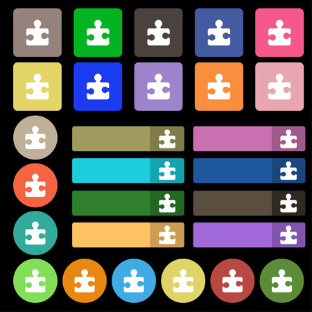 conundrum: Puzzle piece icon sign. Set from twenty seven multicolored flat buttons. illustration Stock Photo