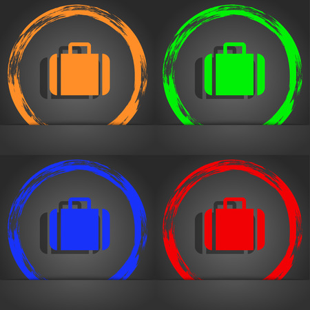 suit case: Suitcase icon symbol. Fashionable modern style. In the orange, green, blue, green design. illustration